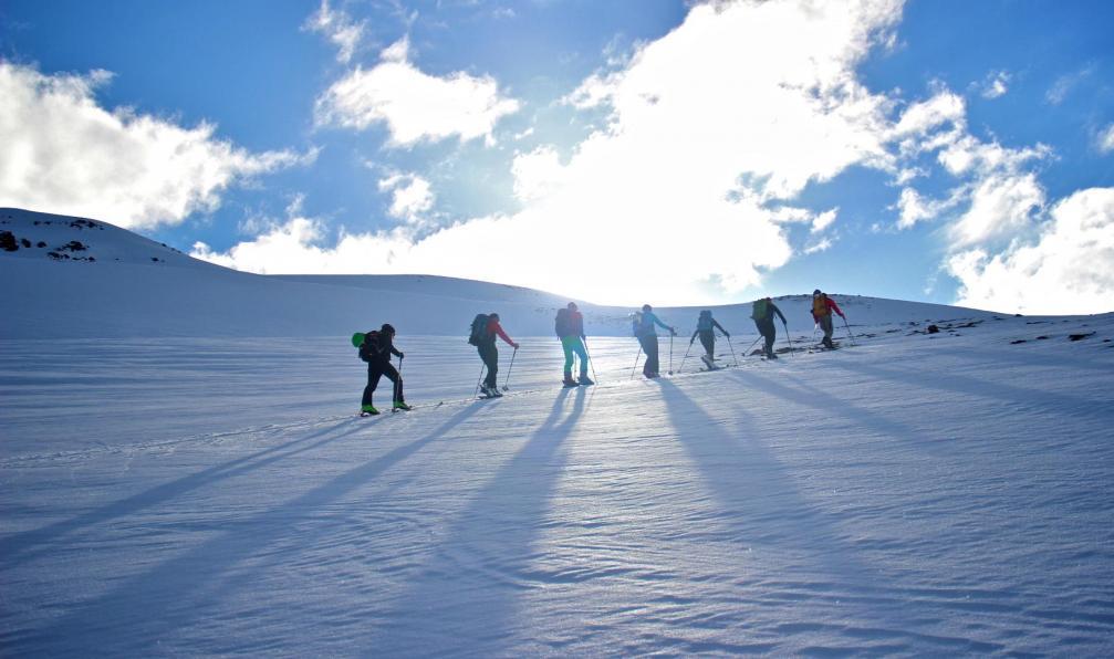 Image Ski et aurores boréales au pays de feu