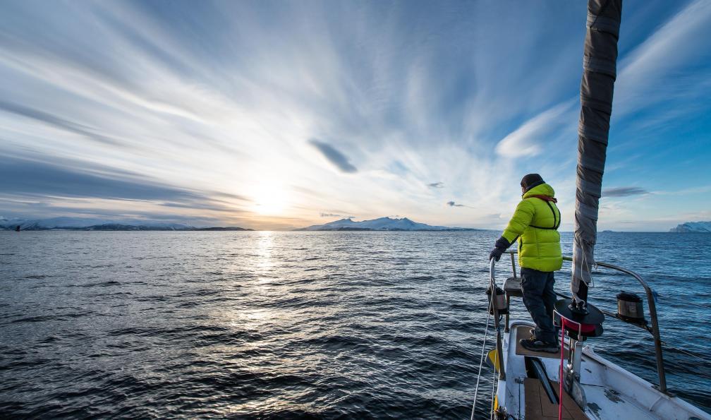 Image Ski-voile dans les fjords de l'ouest