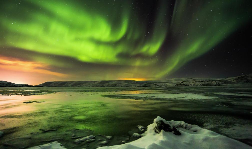 Image Côte sud sous les aurores boréales