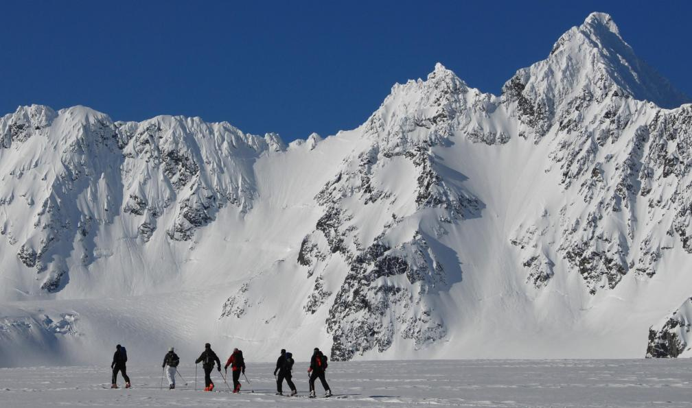 Image Ski et aurores boréales sur l'île de senja