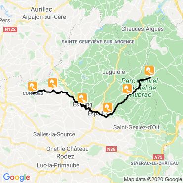 Itinéraire Compostelle : via podiensis nasbinals-conques