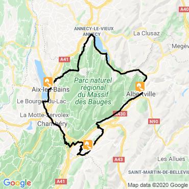 Itinéraire Du lac d'annecy au lac du bourget à vélo