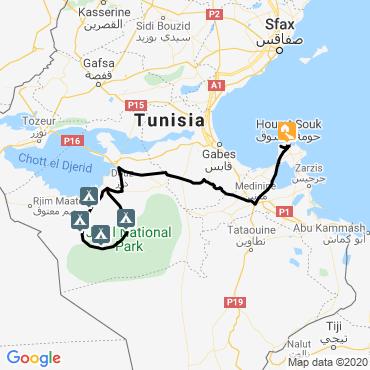 Itinéraire Sables et oasis du sud