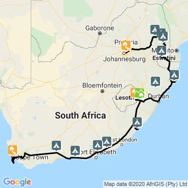 Itinéraire L'afrique arc-en-ciel