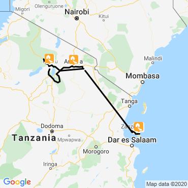 Itinéraire Des grands parcs aux plages de zanzibar