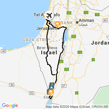 Itinéraire De jerusalem à la mer rouge