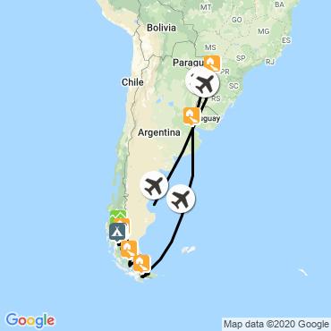 Itinéraire Terre de feu, patagonie et iguazú