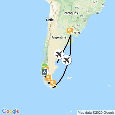 Itinéraire Patagonie-terre de feu