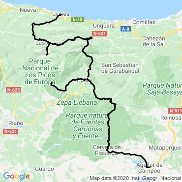 Itinéraire Des picos de europa à la mer à vélo