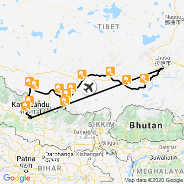 Itinéraire Le tibet à vélo
