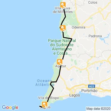 Itinéraire Rota vicentina, de l'alentejo à l'algarve à vélo