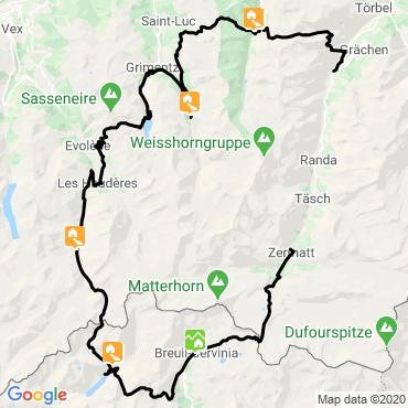 Itinéraire Le tour du cervin en liberte