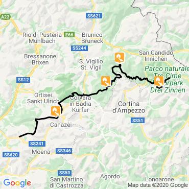 Itinéraire Trail des dolomites, la grande traversée