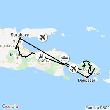Itinéraire Java et bali des hauteurs