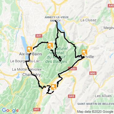 Itinéraire Le lac d'annecy et le massif des bauges à vélo