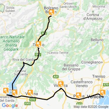 Itinéraire Bolzano-venise à vélo et rives du lac de garde