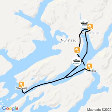 Itinéraire Groenland sud : icebergs et glaciers