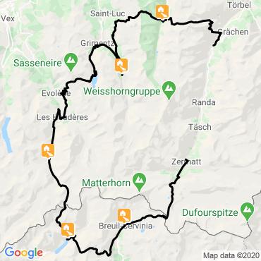 Itinéraire Le tour du cervin