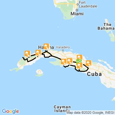 Itinéraire Cités coloniales et parcs de cuba à vélo