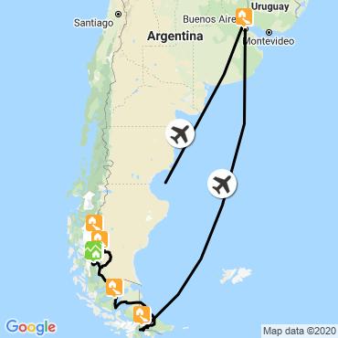 Itinéraire Patagonie et terre de feu (confort)