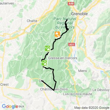Itinéraire Traversée du vercors