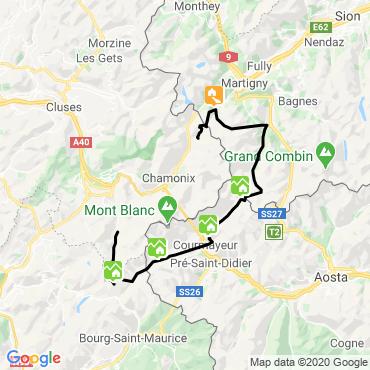 Itinéraire Le tour du mont-blanc avec une mule
