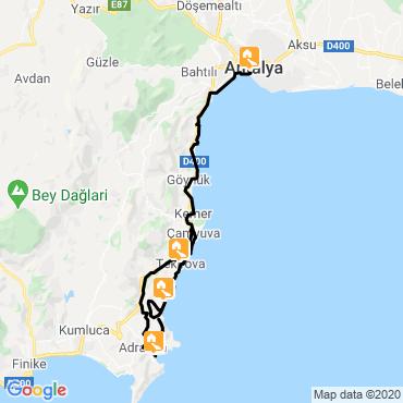 Itinéraire Cités de la côte lycienne