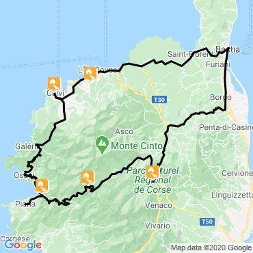 Itinéraire La corse du nord en autotour