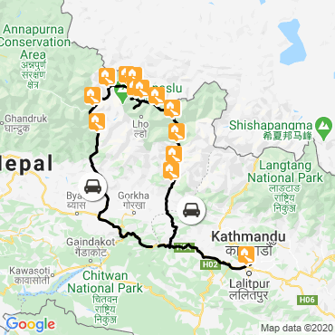 Itinéraire Le tour du manaslu