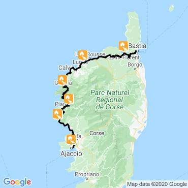 Itinéraire De bastia à ajaccio par la côte ouest à vélo