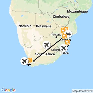 Itinéraire Sommets du cap, savane et tropiques